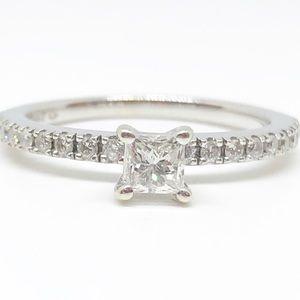 14k White Gold Genuine Princess Cut Diamond Ring